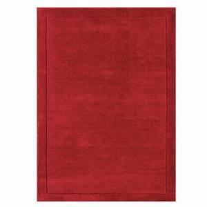 tapis de luxe rouge uni en laine tisse main en inde With tapis contemporain rouge