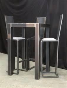 table de bar loft acier noir terre et metal