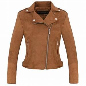 New Fashion Women suede motorcycle jacket Slim brown full ...
