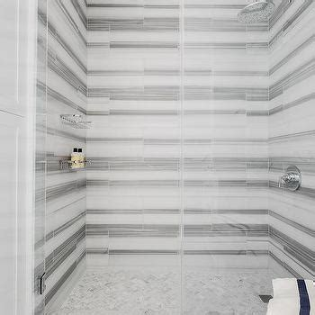 striped marble tile white and gray marble chevron inset shower tiles contemporary bathroom