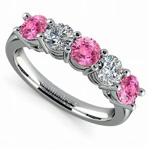 Five Pink Sapphire Diamond Wedding Ring In White Gold 1