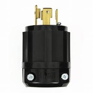 Leviton 30 Amp 480-volt 3-phase Locking Grounding Plug  Black  White-2731