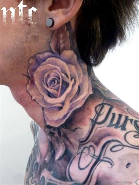 pleasant black rose neck tattoos