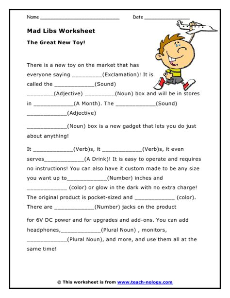 Mad Libs Parts Of Speech Worksheets  Kids Stuff  Pinterest  Language, Toys And The O'jays