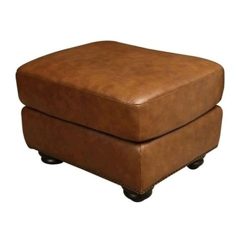 bowery hill leather ottoman in camel brown bh 527028