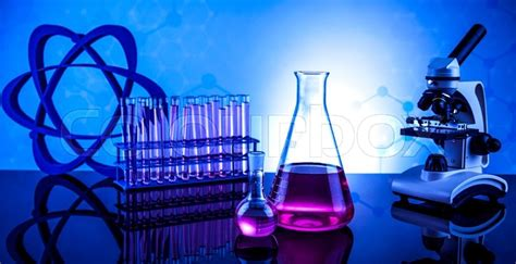 chemistry science laboratory glassware stock photo