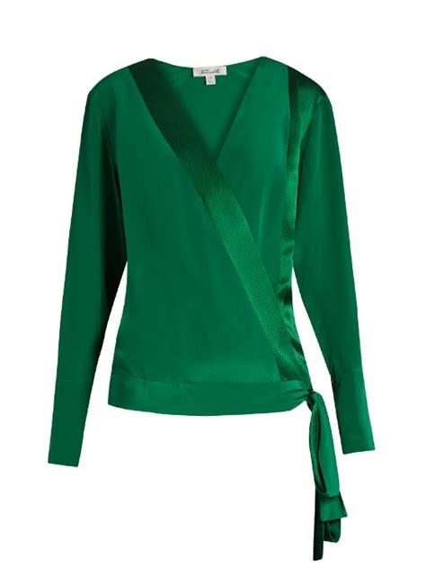 womens green blouse diane furstenberg crossover silk blouse womens green