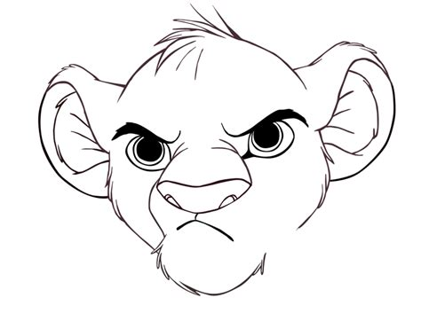 Simba Scowling (outline) By Abiogenic On Deviantart