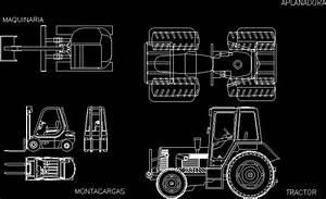 Agricultural Tractor And Elevators DWG Detail for AutoCAD