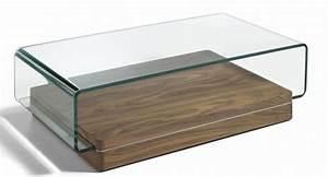 Table Basse Verre Bois : table basse contemporaine bois noyer et verre tremp louna ~ Teatrodelosmanantiales.com Idées de Décoration