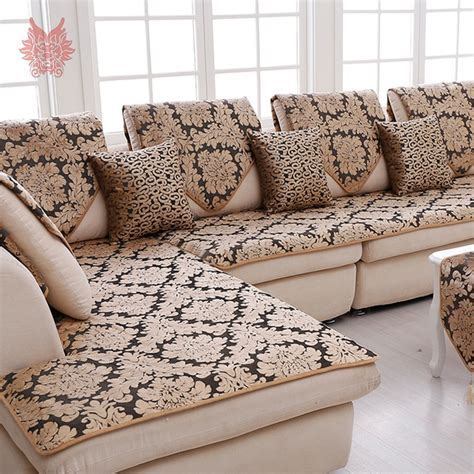 europe black gold floral jacquard terry cloth sofa cover plush sectional slipcovers furniture - Sofa Cover Material Designs