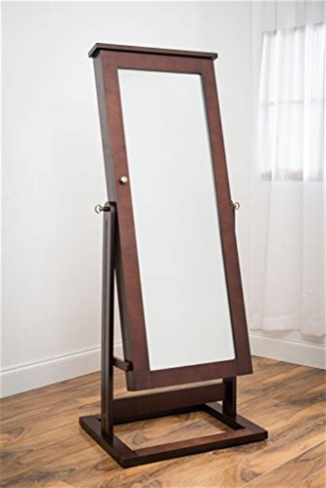 Large Mirror Jewelry Armoire by Floor Standing Tilting Walnut Cheval Jewelry Armoire With