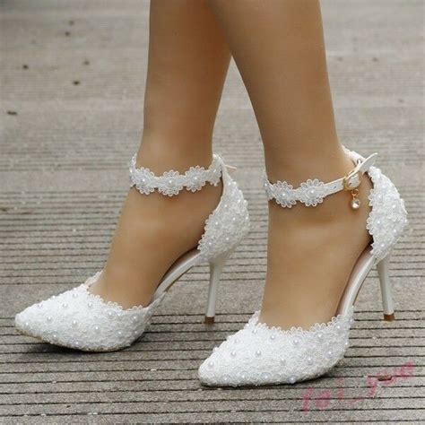 womens white lace pearl wedding sandals high heels pointy