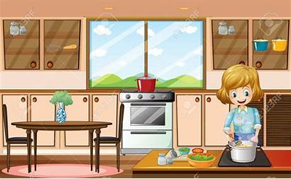 Kitchen Cartoon Clipart Woman Cooking Pencil There