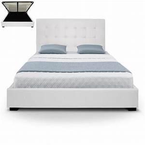 Lit Coffre Blanc : lit coffre blanc achat vente structure de lit cdiscount ~ Teatrodelosmanantiales.com Idées de Décoration