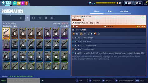frostbite schematic rolls  stats event sniper fortnite