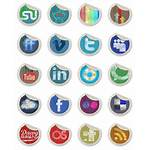 Social Grunge Stickers Icon Peeling Icons Pack