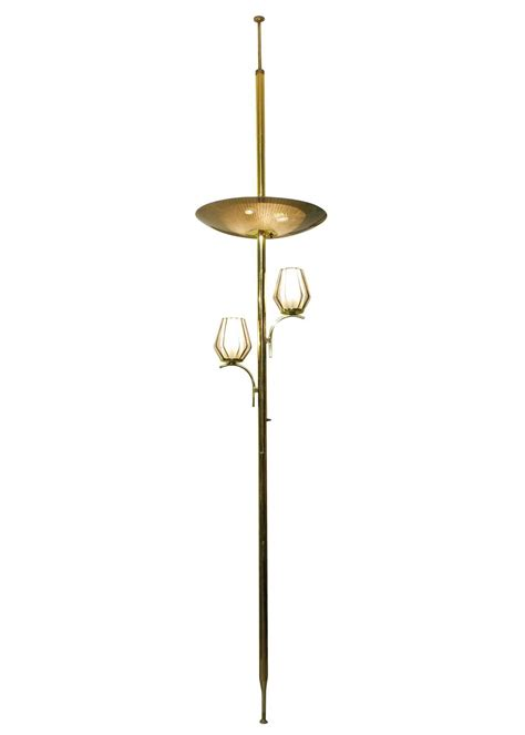 brass light floor to ceiling tension pole l for