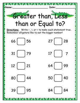 greater than less than equal to worksheet by little learners lighthouse