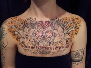 sugar skull chest piece tattoo | Skin Art | Pinterest
