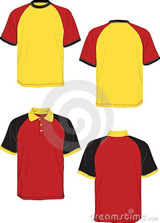 tshirt polo red yellow black model sleeve royalty