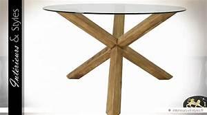 Table Ronde Verre Et Bois : table ronde bois massif mindi plateau verre tremp 130 cm int rieurs styles ~ Teatrodelosmanantiales.com Idées de Décoration
