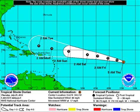 tropical storm dorian tracking north  puerto rico