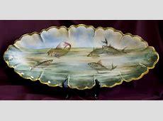 Huge HandPainted Haviland Limoges Fish Platter 24