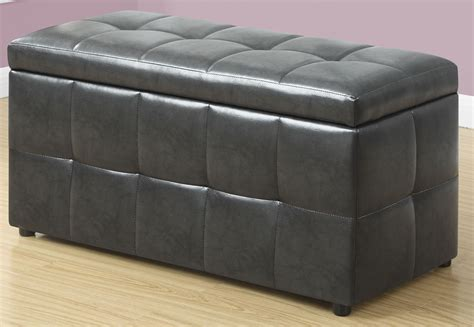 gray leather storage charcoal grey leather storage ottoman 8987 monarch