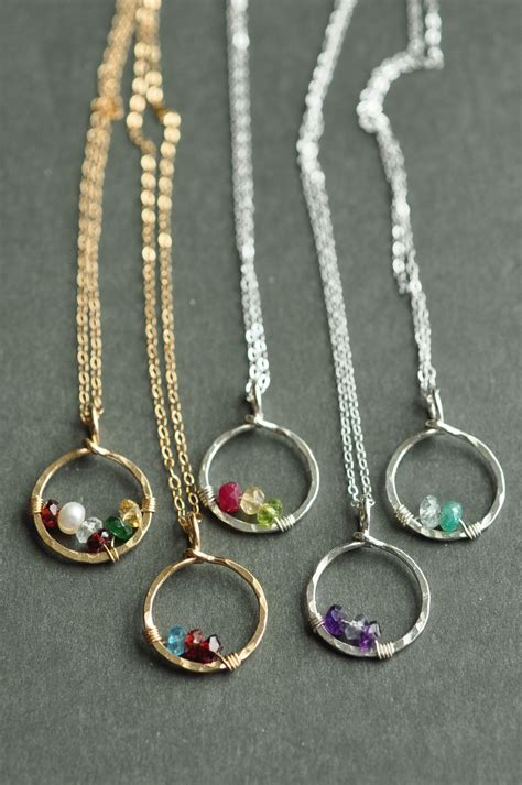 circle  love birthstone necklaces simple  timeless