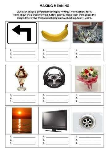 making meaning  images worksheet teaching resources