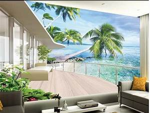 aliexpresscom buy europe style beach balcony 3d room With balkon teppich mit 3d schlafzimmer tapete
