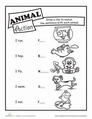 animal action verbs worksheet education com