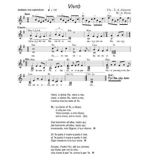 canzoni della chiesa testi canti e spartiti gruppo di preghiera padre pio