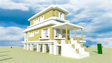 minecraft   build  modern beach house tutorial youtube