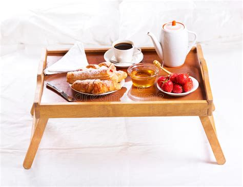 Breakfast In Bed. Tray With Coffee, Croissants And