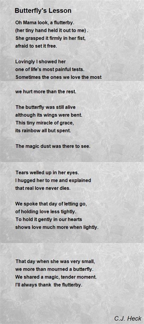 butterflys lesson poem  cj heck poem hunter