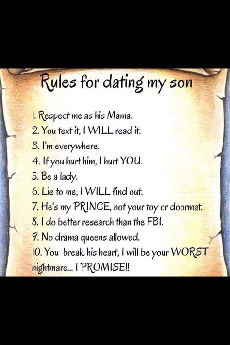 Rules For Dating My Son Making Babies Son Quotes