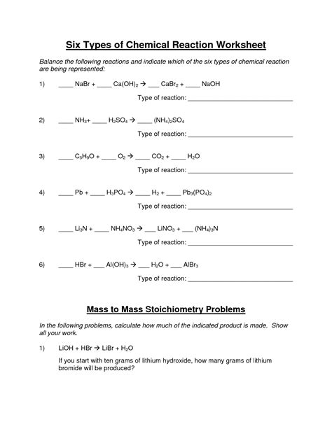 10 Best Images Of Types Of Reactions Worksheet  Types Of Chemical Reactions Worksheet Answer