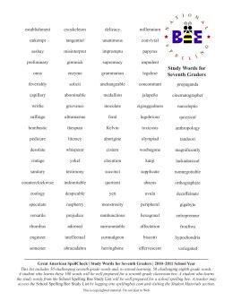 bpes spelling bee  word list grade