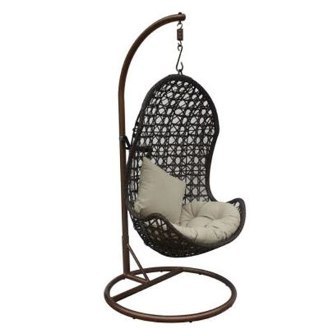 jlip brown rattan patio swing chair with stand and beige