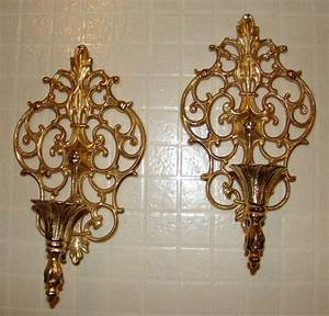 Vintage pair ornate gold tone metal wall sconces candle
