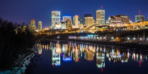 night cityscapes  edmonton alberta  angle