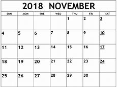 November 2018 Calendar for Kids – Printable 2018 Calendar