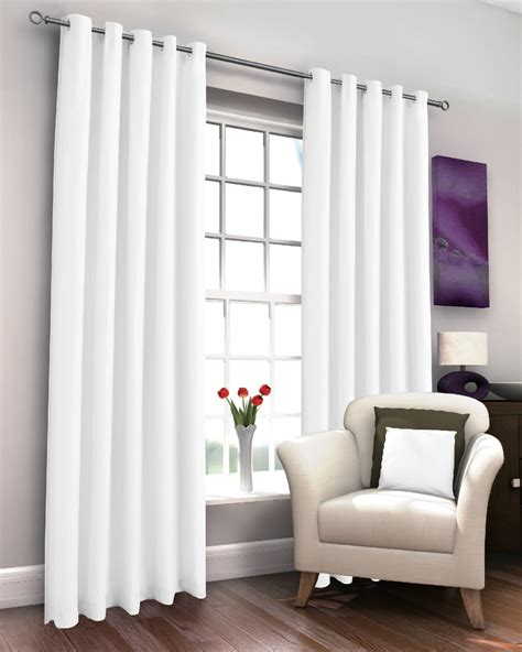 White Drapery by Marcela White Thermal Lined Eyelet Curtains Harry Corry