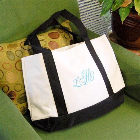 personalized white  black canvas tote bag