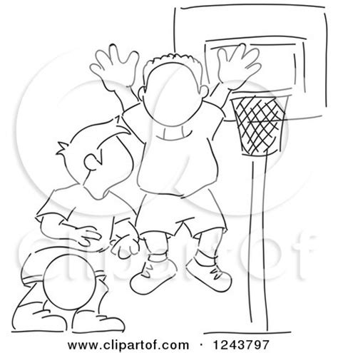 boys basketball clipart black and white clipart sketched basketball coach standing on a court