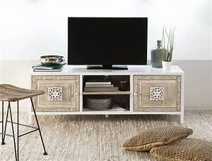 Meuble Tv 2 Portes En M U00e9tal Blanc Et Manguier Sculpt U00e9