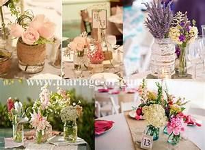 Deco Mariage Vintage : centre de table mason jar bouquet de table mason jar ~ Farleysfitness.com Idées de Décoration