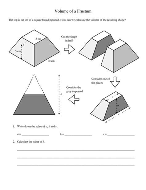pyramids and frustums volumes worksheet by kevinbertman teaching resources